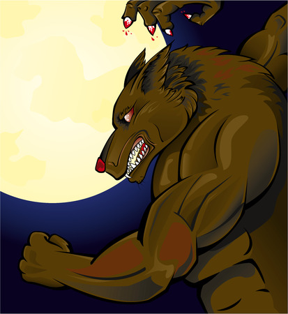 Werewolf attacking  Illustration