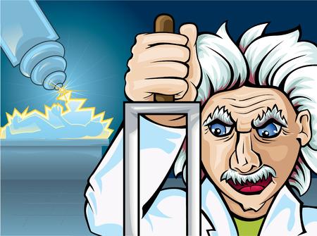 cartoon frankenstein: Mad scientist