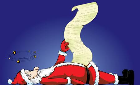 unconscious: Unconscious Santa Claus list Illustration