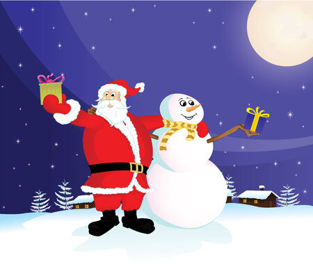 Santa Claus and Snowman with gifts  Vector