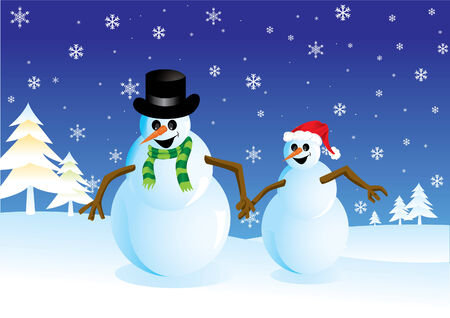 Christmas background with two snowmans Vector