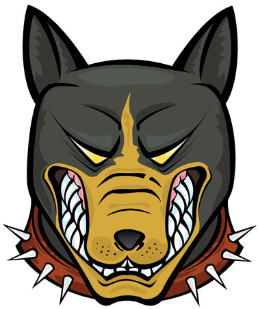 snarling: Pit Bull Terrier vector illustration