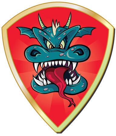 Dragon head with shield Vector