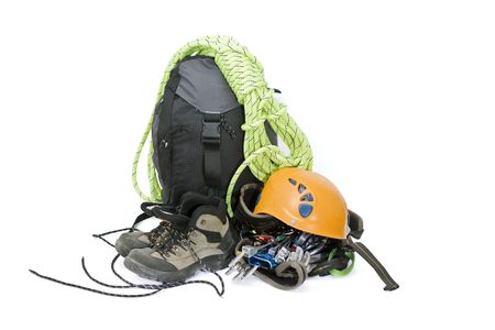 backpack: Some gear for climbing isolated on white
