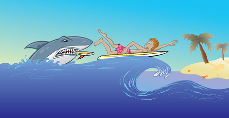 surfing: Surfing with sharks