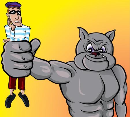 kampfhund: Vorsicht mit dem Hund, Dieb! Illustration