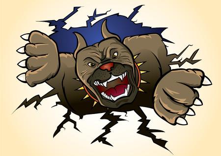attacking: Pit Bull Terrier atacando