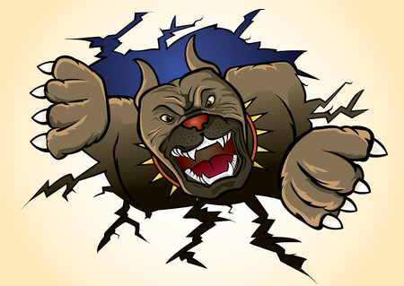 snarling: Pit bull Terrier attacking  Illustration