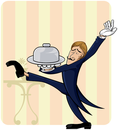 tray: Waiter with lot�s of style  Illustration