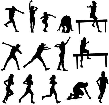 Siluetas de atletismo  Foto de archivo - 7186474