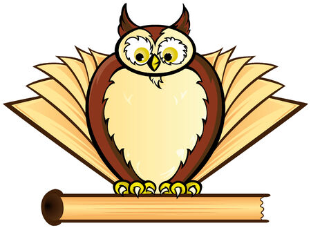Owl with books Vector