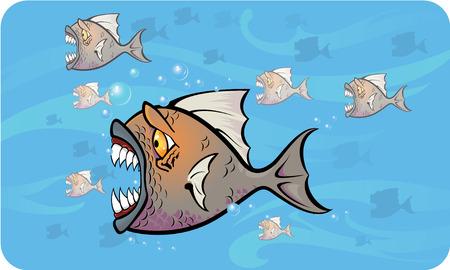 piranha: Piranhas attack Illustration