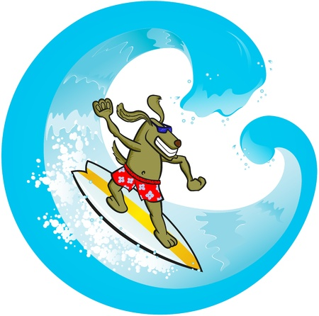 Surf Dog Vector