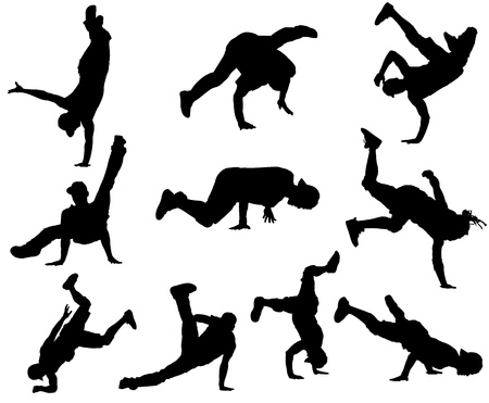 back lit: Bailarines de Hip Hop Vectores