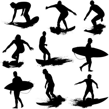 surf silhouettes: Sagome di surf  Vettoriali