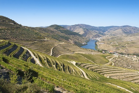 View from the Douro river to Pinhão vilage in Portugal Stock Photo