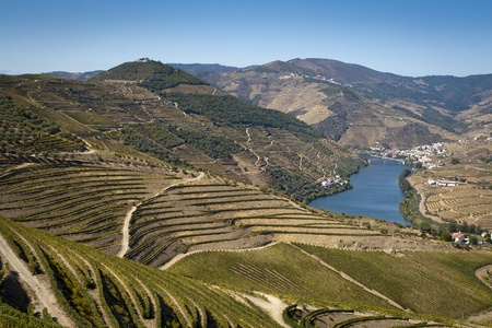 douro: View from the Douro river to Pinhão vilage in Portugal