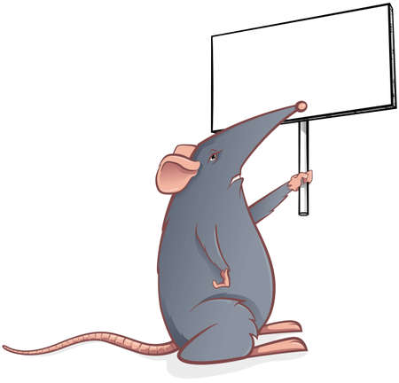 Grey mouse with a black board Stock Vector - 12488730