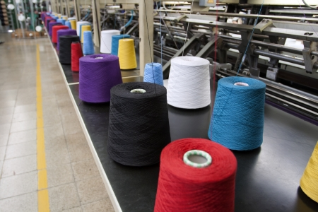 polyester: Textile Production - Weaving machine Editorial