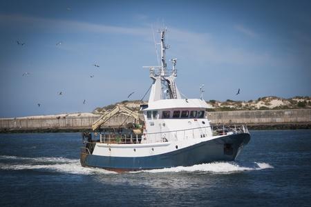 bateau p�che: Bateau de p�che de retour avec beaucoup de mouettes d'alimentation � l'arri�re du bateau