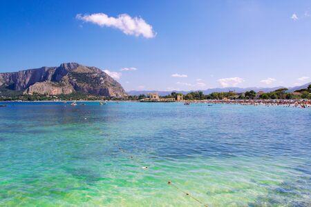 palermo italy: Mondello beach in Palermo Sicily