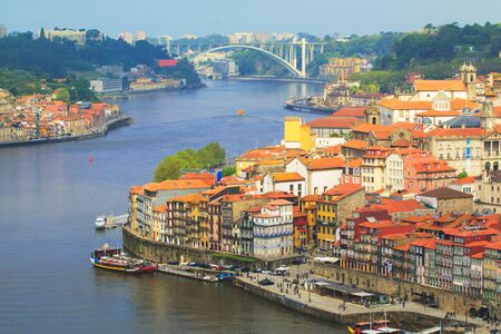 oporto: Oporto view with Douro river in background