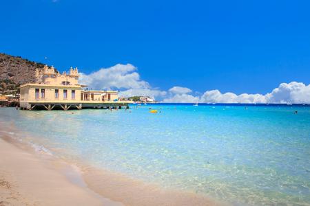 Mondello beach in Sicily Italy Stock Photo