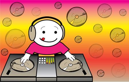 disc jockey: Vector illustration of cute disc jockey