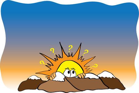Illustration of a shy yellow sun Stock Vector - 2795961