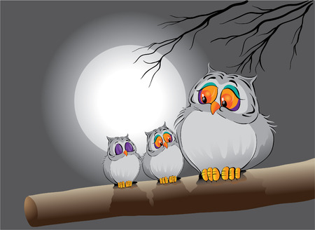 Owl Familie  Vektorgrafik