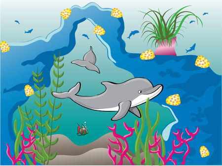 Dolphins in reef Illustration