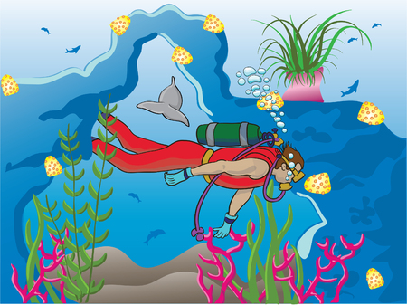 Reef diver Vector