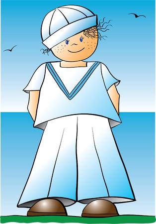 comandante: Illustrazione di un ragazzo marinaio