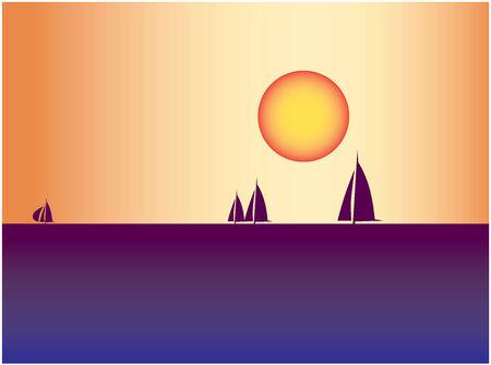 Sail boats against sea sunset Vector