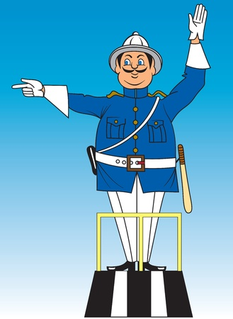 Cartoon of police officer commanding traffic Vector