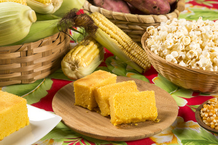 brazilian: Traditional brazilian Fuba cake. Stock Photo