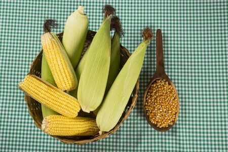 popcorn bowls: Corn maize and popcorn combined on a table.
