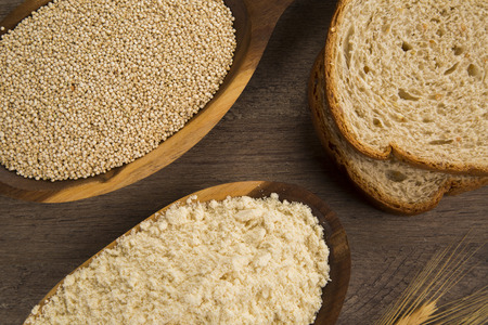 albumen: Portion of uncooked Quinoa and wey protein (detailed close-up shot) Stock Photo