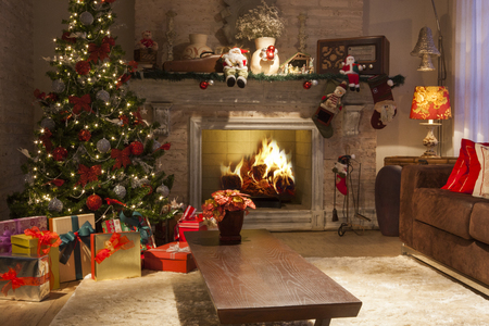 christmas decoration background. Christmas room.