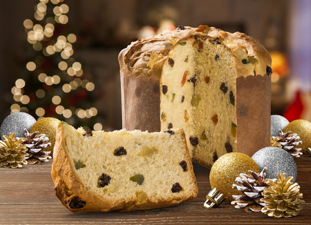 candied fruits: Panettone is the traditional Italian dessert for Christmas. Chocotone.