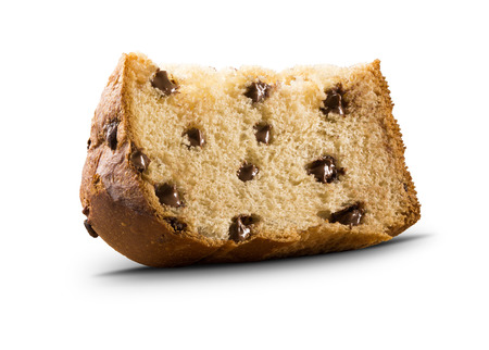 Panettone is the traditional Italian dessert for Christmas in white background. Chocotone.