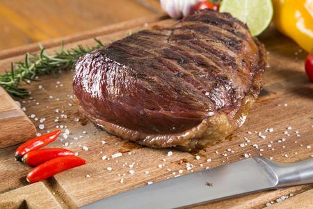 Picanha, brazilian barbecue on the board Stock Photo