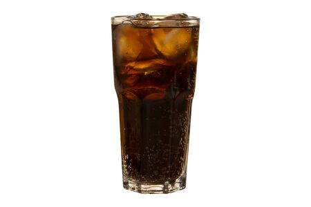 Soda in a glass with clipping path. Cola