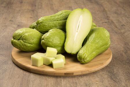 chayote: The chayote (Sechium edule) is a vegetable native to south america. Fresh Vegelable. Stock Photo
