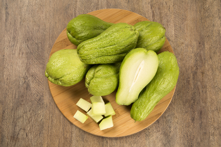 chayote: The chayote Sechium edule is a vegetable native to south america. Fresh Vegelable.