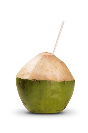 alpine water: Coconut cocktail on a white background. Brazilian Fruit.
