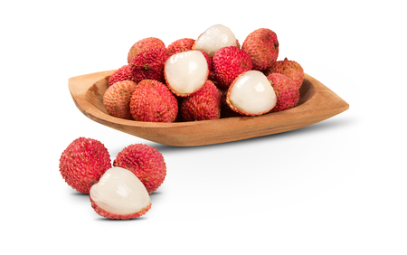 litchee: fresh lychees on white background. Fresh fruits