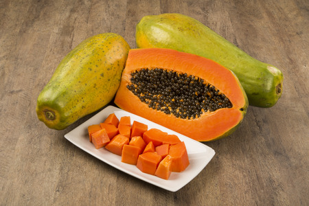 juicy: Fresh cut juicy tropical papayas