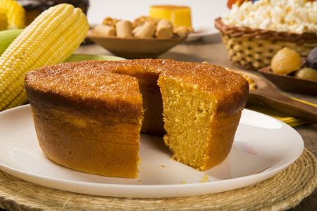 Corn cake. Traditional Brazilian treats made of corn. Stock Photo