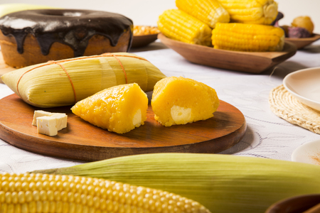 typical: Pamonha and Curau cart sale - typical food of green corn - tasty and cheap - typical and popular street food